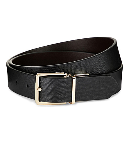 PAUL SMITH ACCESSORIES Saffiano Cut-To-Fit reversible leather belt (Black