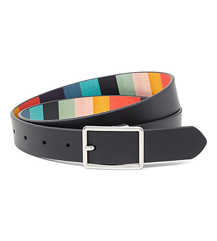 PAUL SMITH ACCESSORIES Artist striped reversible leather belt (Black
