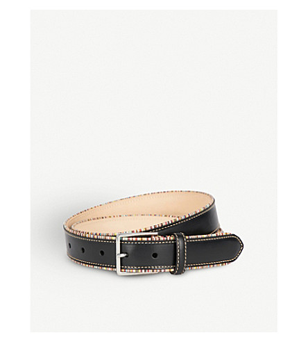 PAUL SMITH ACCESSORIES Striped-piping leather belt (Black