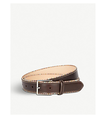 PAUL SMITH Striped-piping leather belt (Chocolate