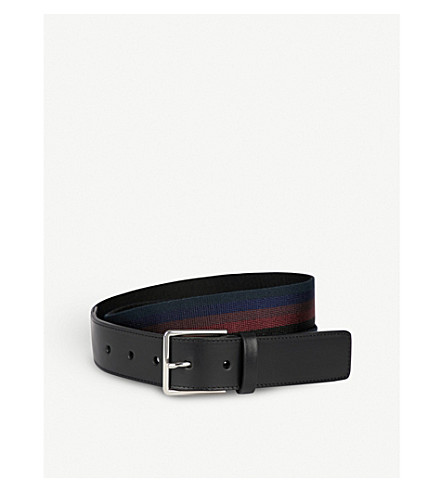 PAUL SMITH City webbing and leather belt (Dark+multi