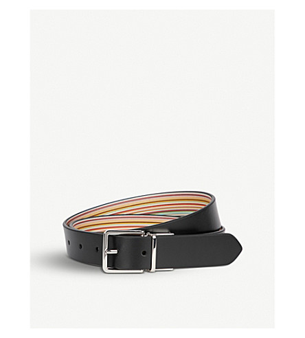 PAUL SMITH ACCESSORIES Reversible striped leather belt (Multi+black