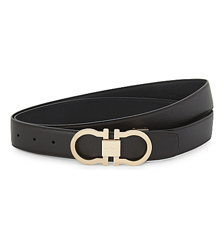 SALVATORE FERRAGAMO Gancho reversible grained leather belt (Blk+rose+gold
