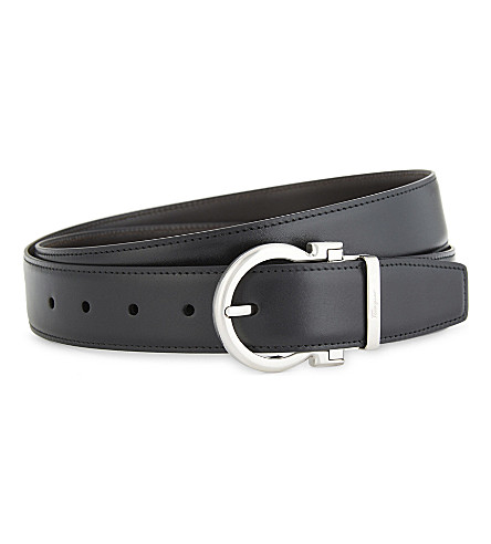 SALVATORE FERRAGAMO Gancho buckle reversible leather belt (Black+brown