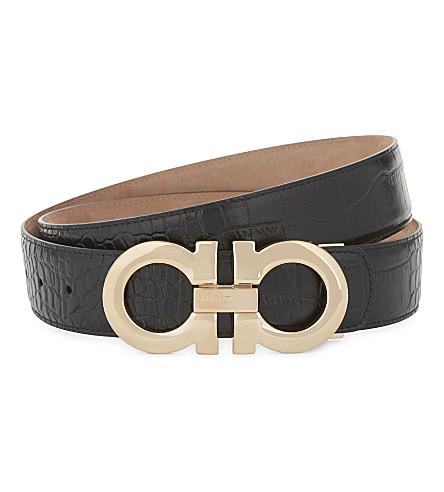 SALVATORE FERRAGAMO Gancio leather belt (Blk+rose+gold