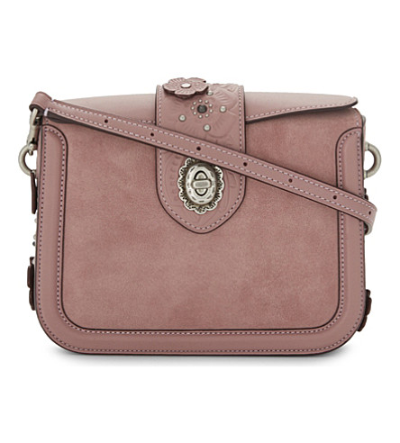 COACH Page glovetanned leather and suede cross-body bag (Dusty+rose