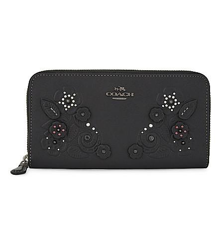 COACH Accordion leather floral wallet (Black