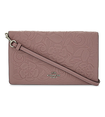 COACH Tearose leather wallet-on-chain (Dusty+rose