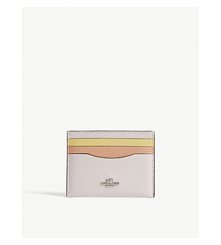 COACH Logo embossed leather card case (Sv/ice+pink+multi