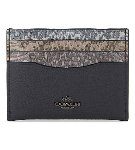 COACH Snake-embossed leather card case (Snake+multi