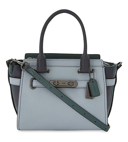 COACH Colour-block Swagger 21 leather shoulder bag (Blue+multi