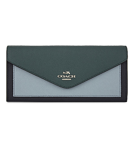 COACH Colourblock leather envelope wallet (Navy+multi