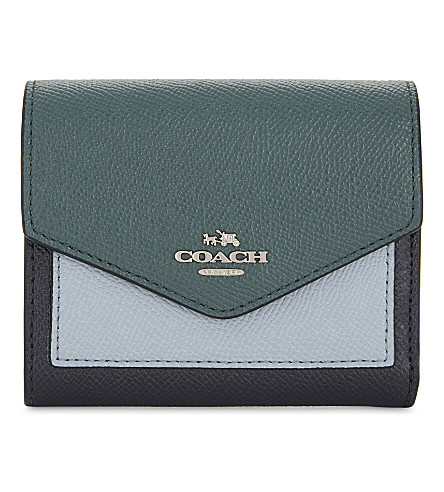 COACH Small textured leather wallet (Navy+multi