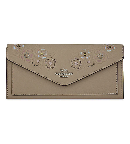 COACH Floral leather envelope wallet (Stone