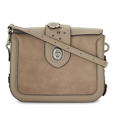 COACH Page glovetanned leather and suede cross-body bag (Stone