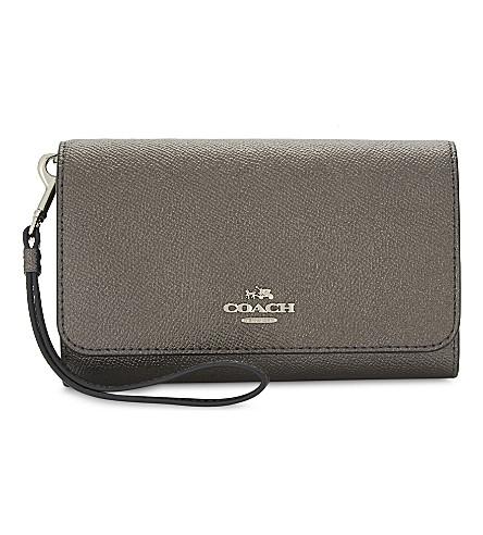 COACH Metallic leather phone clutch bag (Metallic+graphite