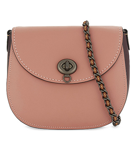 COACH Turnlock leather saddle bag (Bp/melon+bordeaux