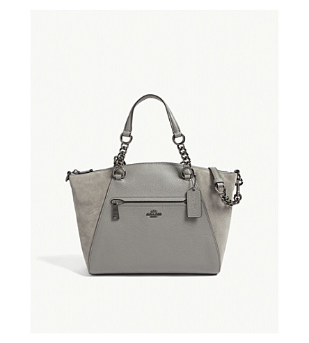COACH Chain Prairie leather satchel (Dk/heather+grey