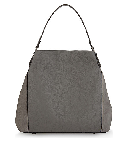 COACH Edie 42 leather and suede shoulder bag (Dk/heather+grey
