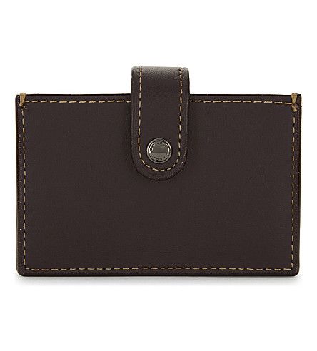 COACH Accordion leather card holder (Dk/oxblood
