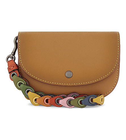 COACH Leather small wrist pouch (Dk/light+saddle