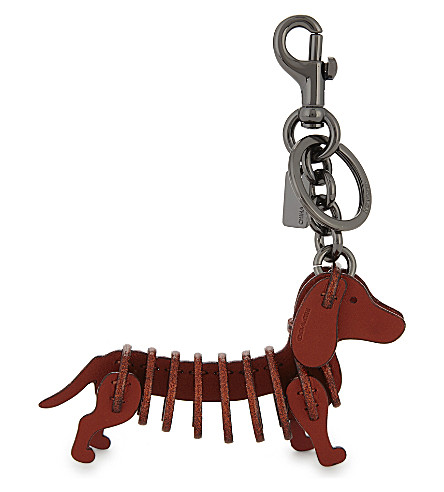 COACH Sausage dog leather bag charm (Bk/metallic+brick
