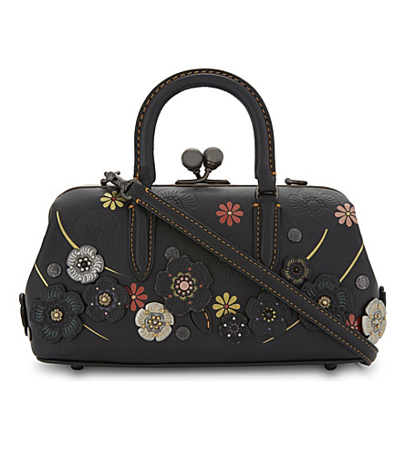 COACH Tooled tea rose kisslock satchel (Bp/black