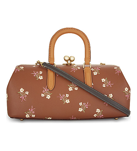COACH Floral print kisslock satchel (Oll4a+/+saddle