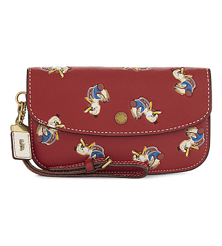 COACH Duck motif embossed leather wristlet (Ol/1941+red