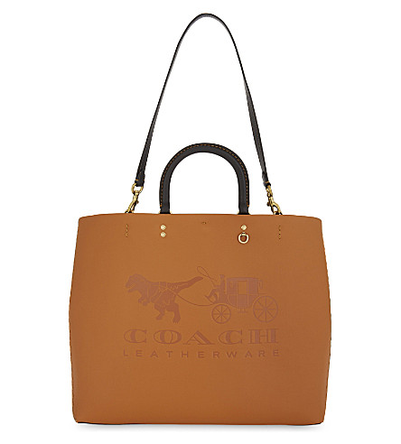 COACH Rogue leather tote 38 (Ol/orange