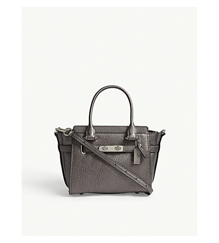 COACH Swagger 21 pebbled leather shoulder bag (Lh/metallic+graphite