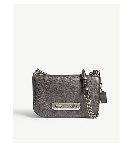 COACH Swagger leather cross-body bag (Lh/metallic+graphite