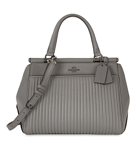 COACH Grace quilted leather satchel bag (Dk/heather+grey