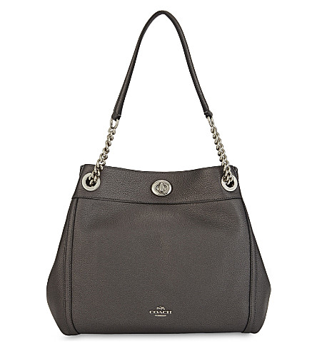 COACH Turnlock Edie grained leather shoulder bag (Lh/metallic+graphite