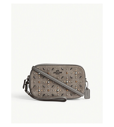 COACH Studded leather and suede cross-body bag (Dk/heather+grey
