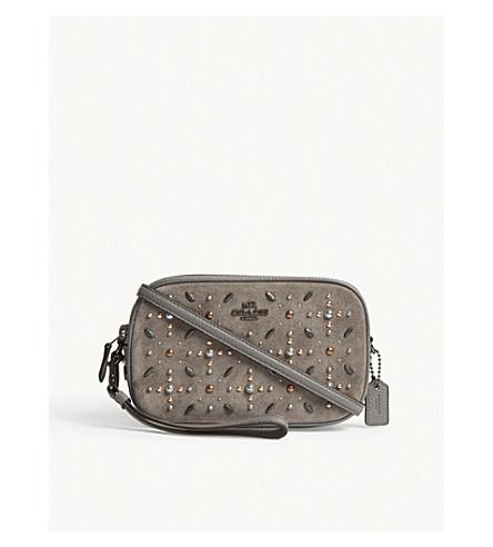 COACH 镶嵌皮革和麂皮绒挎袋 (Dk/希瑟 + 灰色
