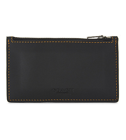 COACH Zip-up leather card case (Black