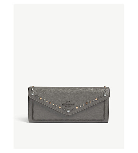 COACH Logo lettering wallet (Dk/heather+grey