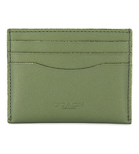 COACH Metallic leather card case (Dk/metallic+lime
