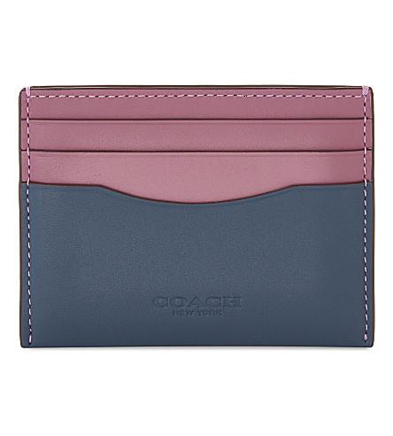 COACH Colourblock leather card holder (Dk/denim+primrose