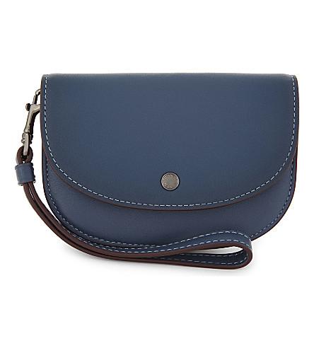 COACH Colourblock leather wristlet pouch (Dk/denim+primrose