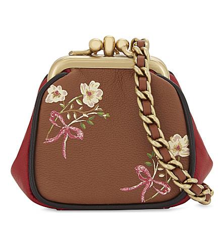 COACH Ultra mini kisslock glovetanned leather floral motif pouch (Ol/1941+saddle