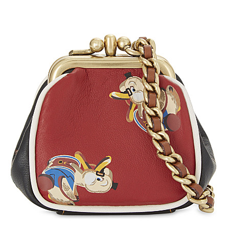 COACH Ultra mini kisslock glovetanned leather duck motif pouch (Ol/1941+red