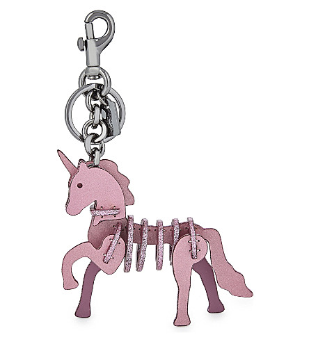 COACH Glittered unicorn bag charm (Bk/primrose
