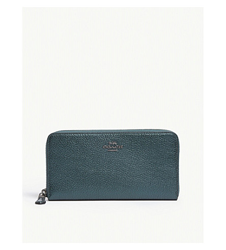 COACH Accordion metallic leather continental wallet (Dk/metallic+ivy