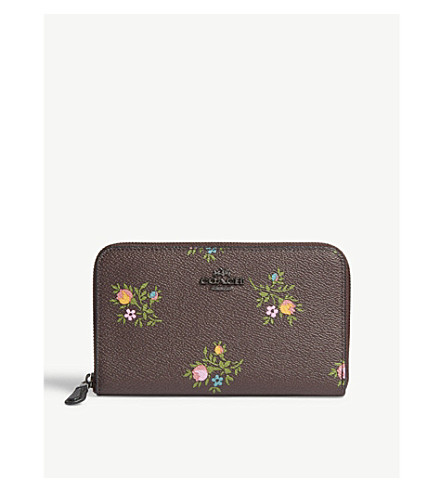 COACH Floral-print medium grained leather purse (Dk/oxbld+xstitch+floral