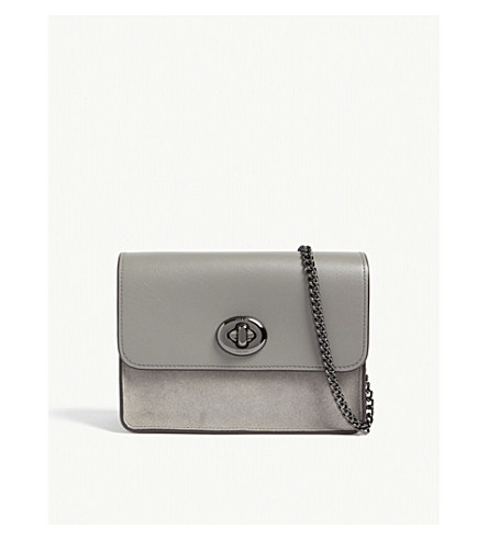 COACH Bowery leather and suede cross-body bag (Dk/heather+grey