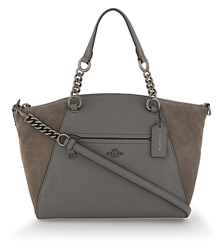 COACH Prairie leather and suede shoulder bag (Dk/heather+grey