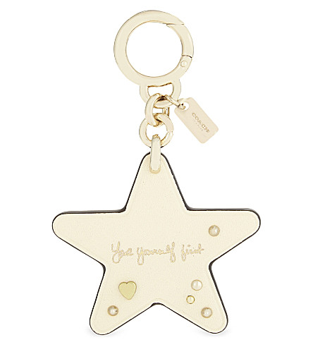 COACH Coach x Selena Gomez star leather bag charm (Gd/chalk