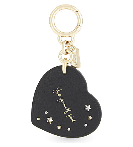 COACH Coach x Selena Gomez heart leather bag charm (Gd/black